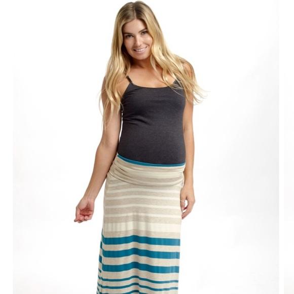 eada0a72e896c Pinkblush Skirts   Teal Beige Striped Maternity Maxi Skirt   Poshmark